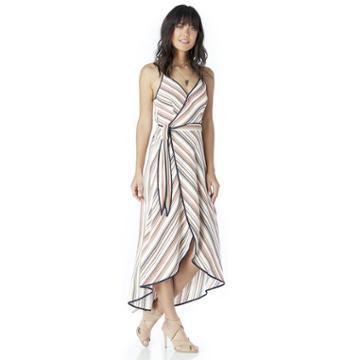 Moon River Moon River Sleeveless Striped Wrap Dress - Orange Multi-x-small