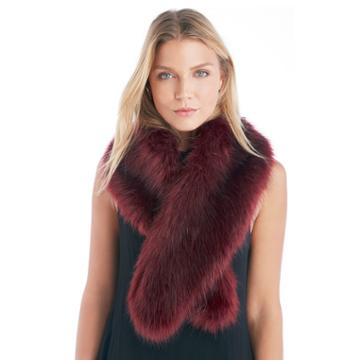 Sole Society Sole Society Large Faux Fur Stole - Oxblood
