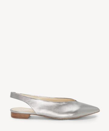 Vince Camuto Vince Camuto Women's Maltida Slingback Flats Radient Silver Size 5 Suede From Sole Society