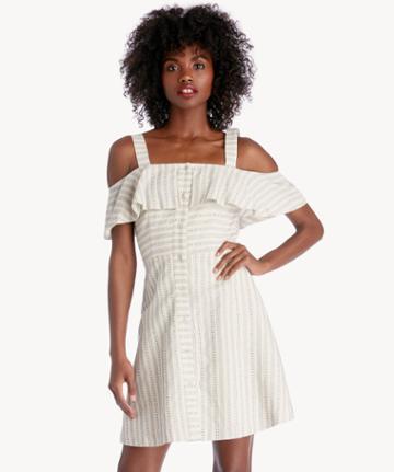 J.o.a. J.o.a. Button Down Cold Shoulder Dress