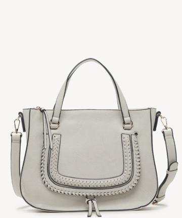 Sole Society Women's Destin Satchel Vegan Studded Whipstich In Color: Linen Bag Vegan Leather From Sole Society