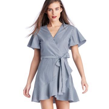 J.o.a. J.o.a. Flare Sleeve Wrap Dress With Waist Tie - Navy Stripe-xs