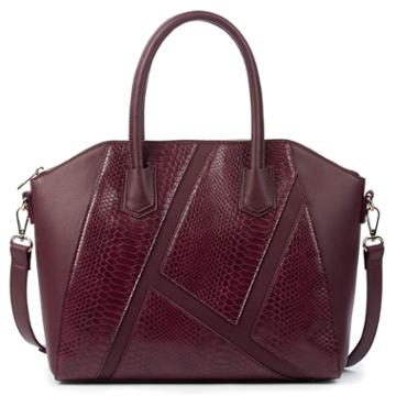 Sole Society Sole Society Chase Vegan Panel Satchel W/ Exotic Detail - Bordeaux