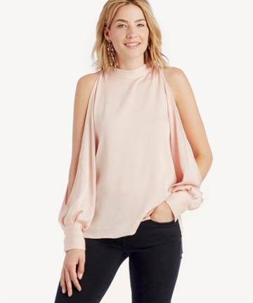 1. State 1. State Cold Shoulder Blouson Sleeve Blouse