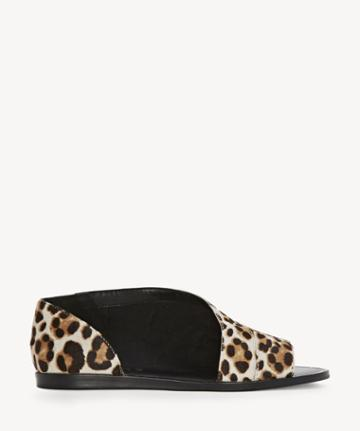 1. State 1. State Women's Celvin Asymmetrical Open Toe Flats Cheetah Size 5 Leather From Sole Society