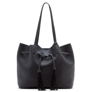 Sole Society Sole Society Costello Slouchy Tote W/ Whipstitch Detail - Black