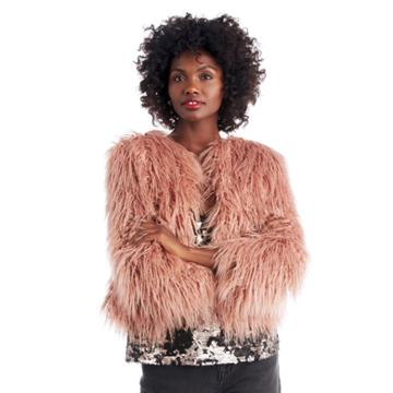 1. State 1. State Cropped Faux Fur Jacket - Lustre Nude-xs