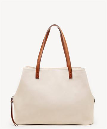 Sole Society Women's Miller Over Tote Cream Faux Leather From Sole Society