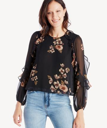 Astr Astr Women's Lena Top In Color: Black Pink Floral Size Large From Sole Society