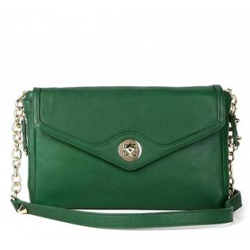 Solesociety Cassie Leather Envelope Clutch - Kelly Green