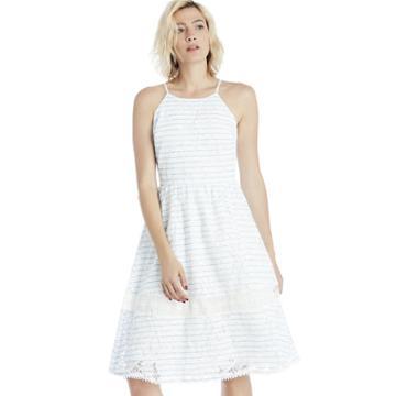 J.o.a. J.o.a. Lace Mix Dress - Blue/white