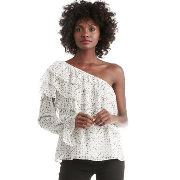 1. State 1. State One Shoulder Tiered Sleeve Blouse - Antique White-xs
