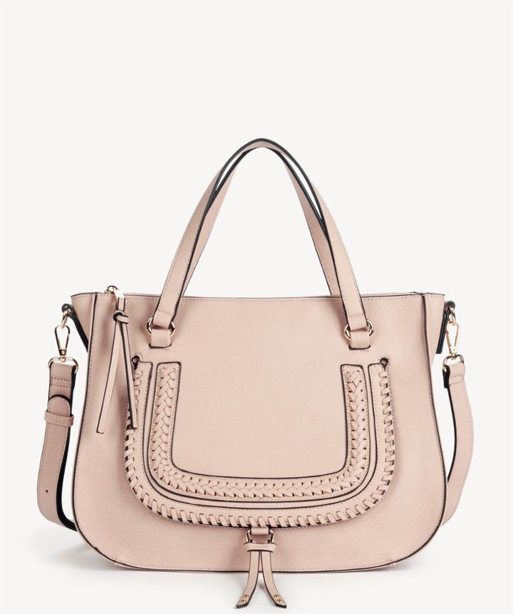 Sole Society Women's Destin Satchel Vegan Studded Whipstich In Color: Blush Bag Vegan Leather From Sole Society