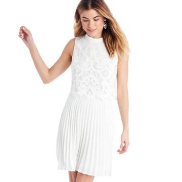 Cece Cece Lace Mock Neck Dress - New Ivory-0