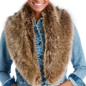 Sole Society Sole Society Large Faux Fur Stole - Light Brown