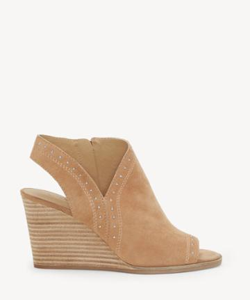 Lucky Brand Lucky Brand Women's Ulyssas Peep Toe Wedges Macaroon Size 5 Suede From Sole Society