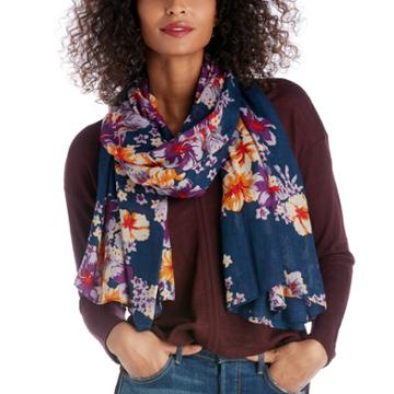 Sole Society Sole Society Tropical Printed Scarf - Navy Multi