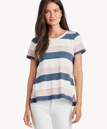 Vince Camuto Vince Camuto Women's Cafe Stripe 1 Pocket Tee In Color: Garnet Heather Size Xs From Sole Society