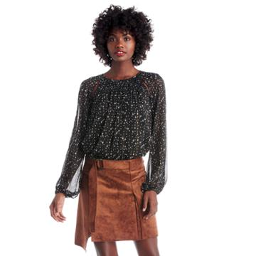 1. State 1. State L/s Blouse W/ Smocking And Cutouts - Rich Black-xs