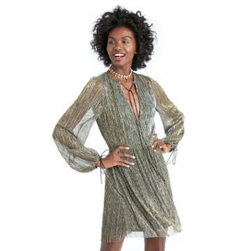 J.o.a. J.o.a. Long Sleeve Mini Dress - Gold