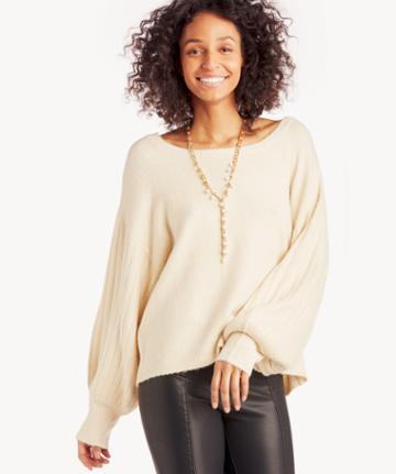 J.o.a. J.o.a. Women's Bishop Sleeve Sweater In Color: Cream Size Xs From Sole Society