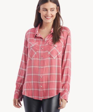 Sanctuary Sanctuary Women's Boyfriend For Life Shirt In Color: Ristaker Plaid Size Xs From Sole Society