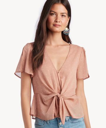 Astr Astr Women's Candice Top In Color: Mauve Cream Dot Size Xs From Sole Society