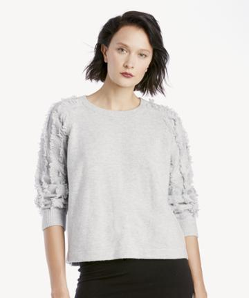 1. State 1. State Women's Crewneck Fringe Sleeve Sweater In Color: Lt Heather Grey Size Large From Sole Society