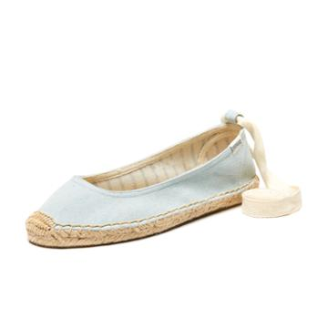 Soludos Ballet Flat Ankle Tie Up In Chambray