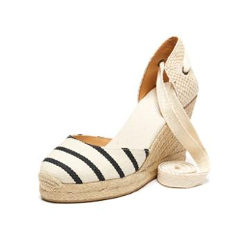 Soludos Classic Striped Canvas Espadrille Tall Wedge In Black/natural