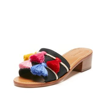 Soludos Tassel City Sandal In Multi Black