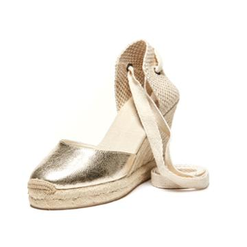 Soludos Metallic Tall Wedge In Pale Gold