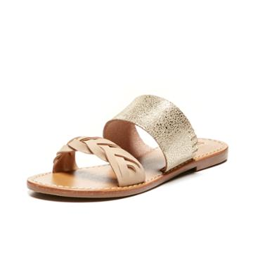Soludos Metallic Braided Slide Sandal In Pale Gold