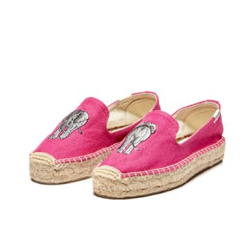 Soludos Elephant Platform Smoking Slipper In Fuschia