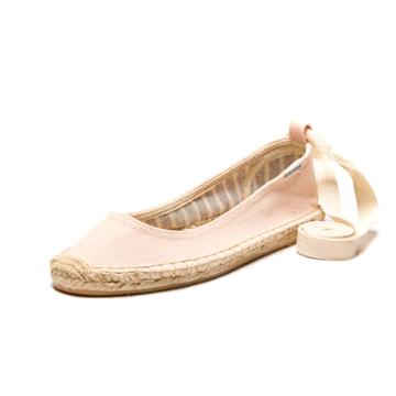 Soludos Ballet Flat Ankle Tie Up In Soft Rose