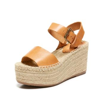 Soludos Minorca High Platform Sandal In Nude Leather