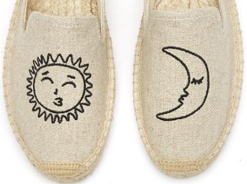 Soludos Sun Moon Embroidered Platform Smoking Slipper In Sand