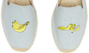 Soludos Men's Banana Embroidered Smoking Slipper In Chambray