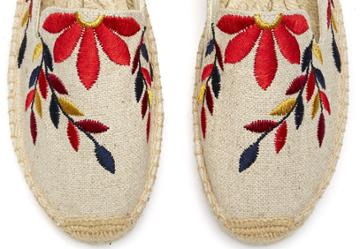 Soludos Graphic Floral Embroidered Platform Espadrille Smoking Slipper In Sand/red