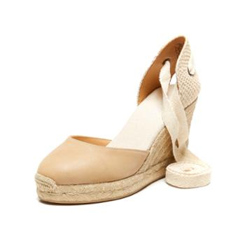 Soludos Leather Espadrille Tall Wedge Sandal In Nude Leather