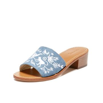 Soludos Otomi City Sandal In Medium Denim