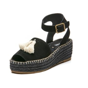 Soludos Peep-toe Platform In Black
