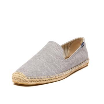 Soludos Men's Linen Natural Stripe Smoking Slipper In Grey