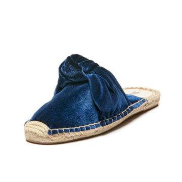 Soludos Knotted Velvet Mule In Blue