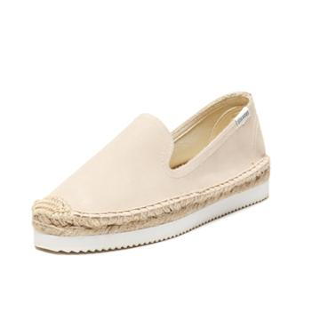 Soludos Platform Mix Sole Smoking Slipper In Bisque