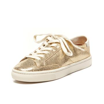 Soludos Metallic Lace Up Sneaker In Pale Gold