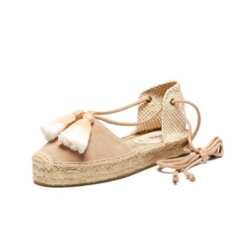 Soludos Tassel Embellished Suede Platform Gladiator Sandal In Cream