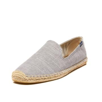 Soludos Striped Linen Smoking Slipper Soludos In Gris