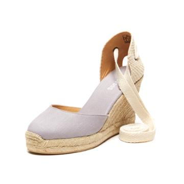 Soludos Linen Espadrille Tall Wedge In Gray