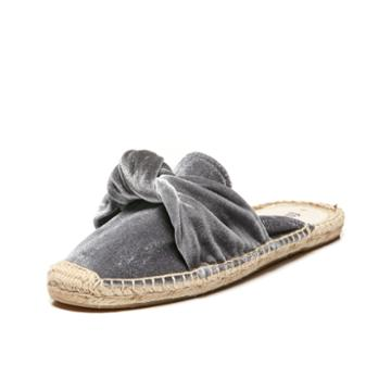 Soludos Knotted Velvet Mule In Gray